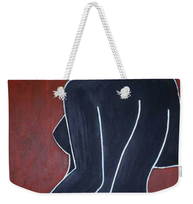 Nude Weekender Tote Bag featuring the painting Shadow by Thomas Valentine