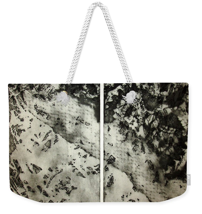 Etching Weekender Tote Bag featuring the drawing Shadows And Lace by Nancy Mueller