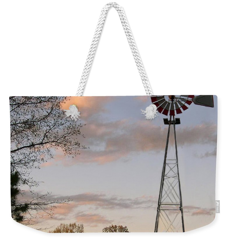 Windmill Weekender Tote Bag featuring the photograph Shadows Fall by Bonnie Willis