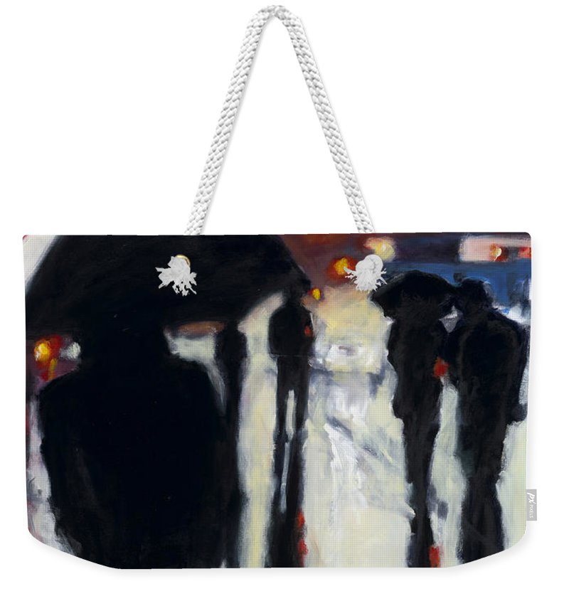 Rob Reeves Weekender Tote Bag featuring the painting Shadows In The Rain by Robert Reeves
