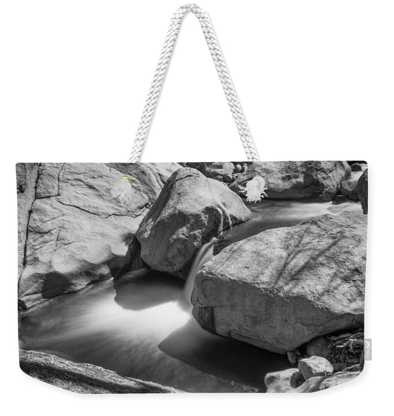 Black Weekender Tote Bag featuring the photograph Shadows Of A Creek In Black And White by James BO Insogna