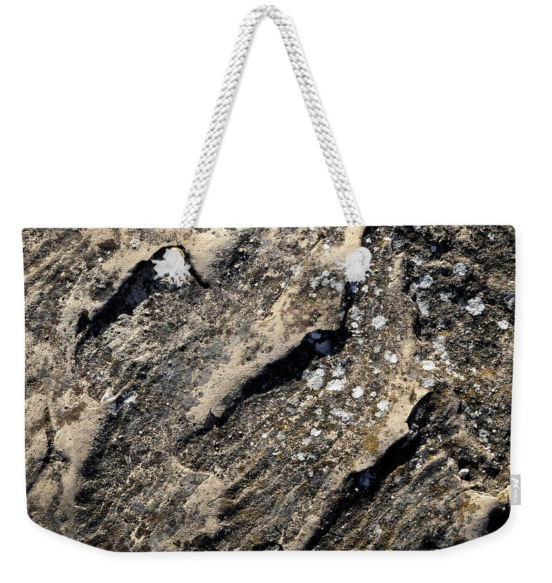 Geology Weekender Tote Bag featuring the photograph Shadows On A Block Of Sandstone by Jozef Jankola