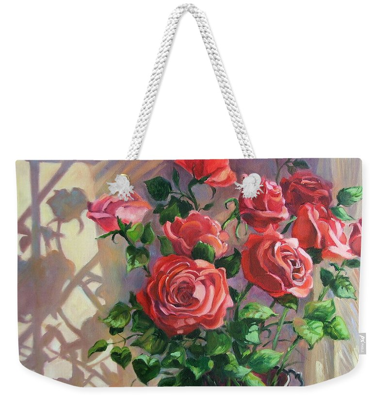 Oil Painting Weekender Tote Bag featuring the painting Shadows On The Wall by Dianna Willman