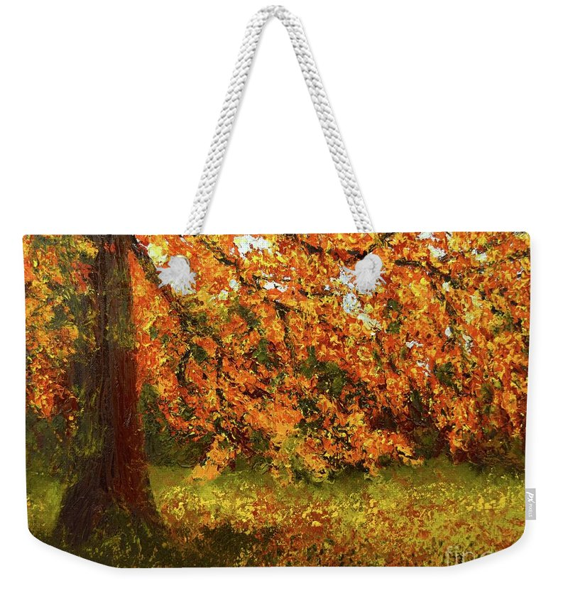 Weekender Tote Bag featuring the painting Shady Oak by Barrie Stark
