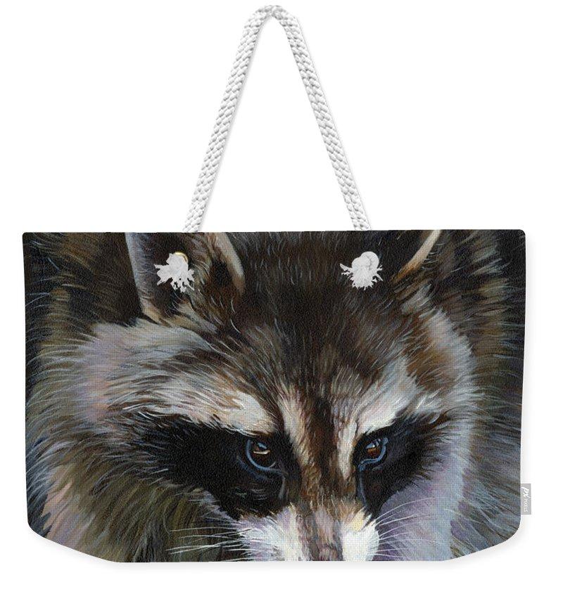 Raccoon Weekender Tote Bag featuring the painting Shaken Not Stirred by J W Baker