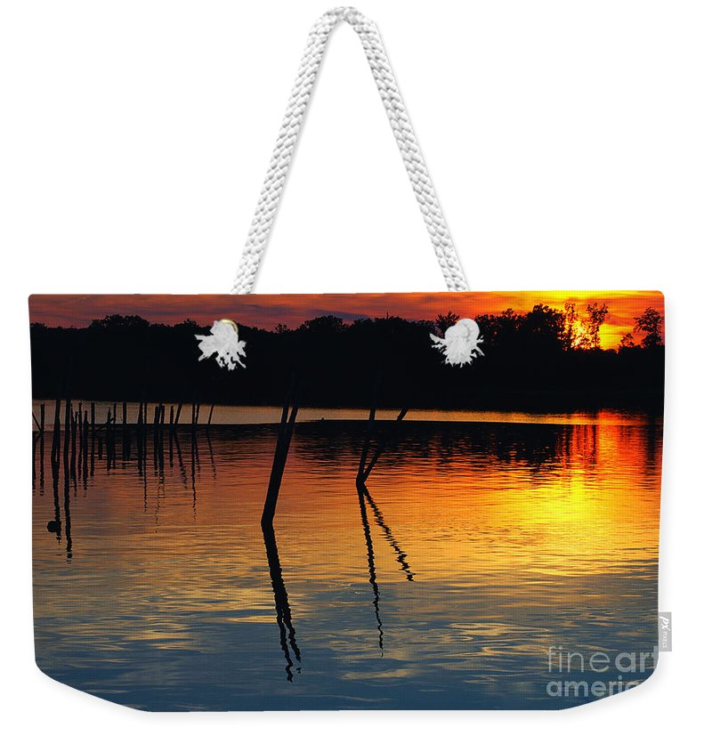 Clay Weekender Tote Bag featuring the photograph Shallow Water Sunset by Clayton Bruster