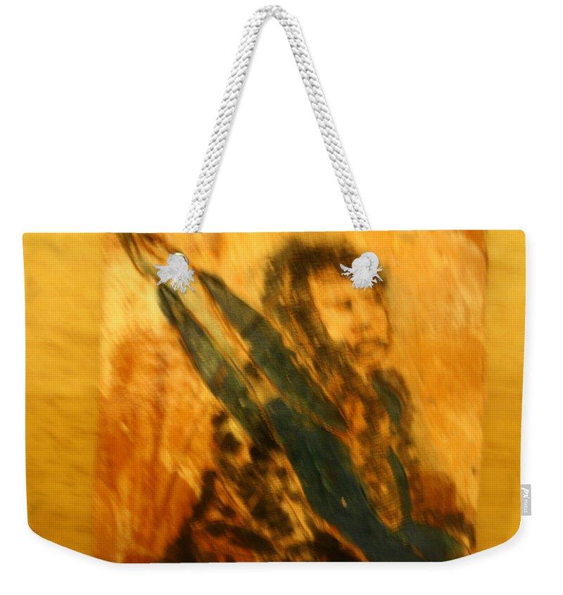 Jesus Weekender Tote Bag featuring the ceramic art Sham - Tile by Gloria Ssali