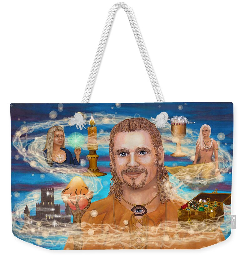 Magic Weekender Tote Bag featuring the digital art Shaman Storey by Roz Eve