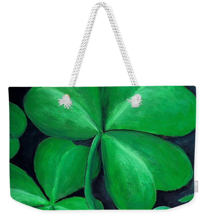 Shamrock Weekender Tote Bag featuring the painting Shamrocks by Nancy Mueller
