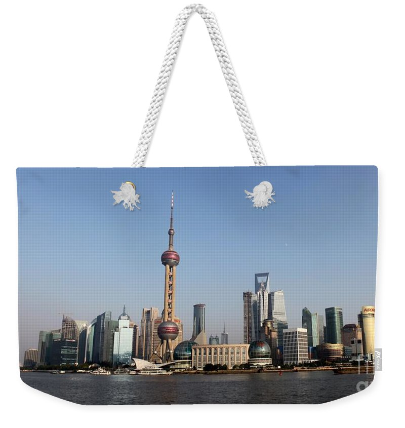 China Weekender Tote Bag featuring the photograph Shanghai Skyline by Thomas Marchessault