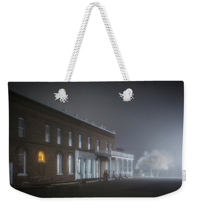 Night Weekender Tote Bag featuring the photograph Shaniko Hotel by Cat Connor