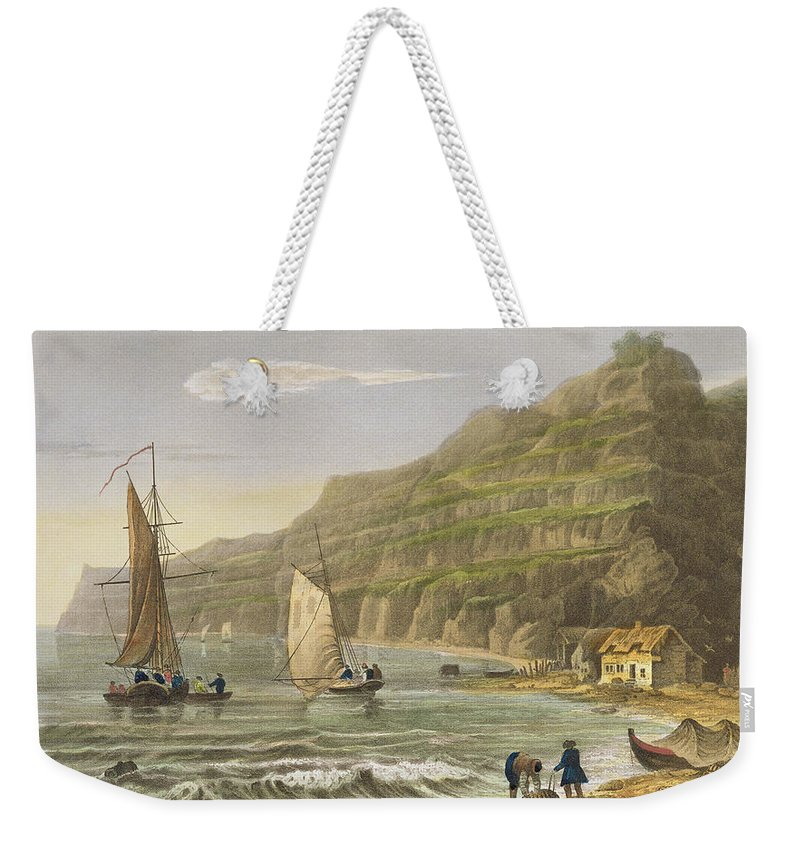 Beach Weekender Tote Bag featuring the painting Shanklin Bay by Frederick Calvert