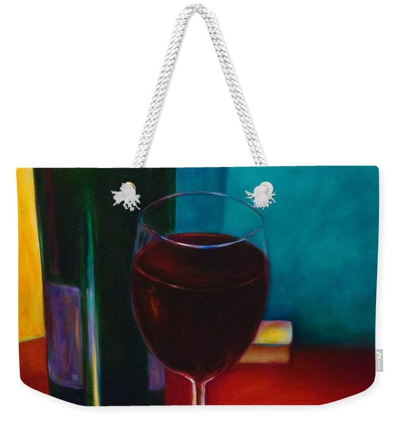 Wine Bottle Weekender Tote Bag featuring the painting Shannon's Red by Shannon Grissom