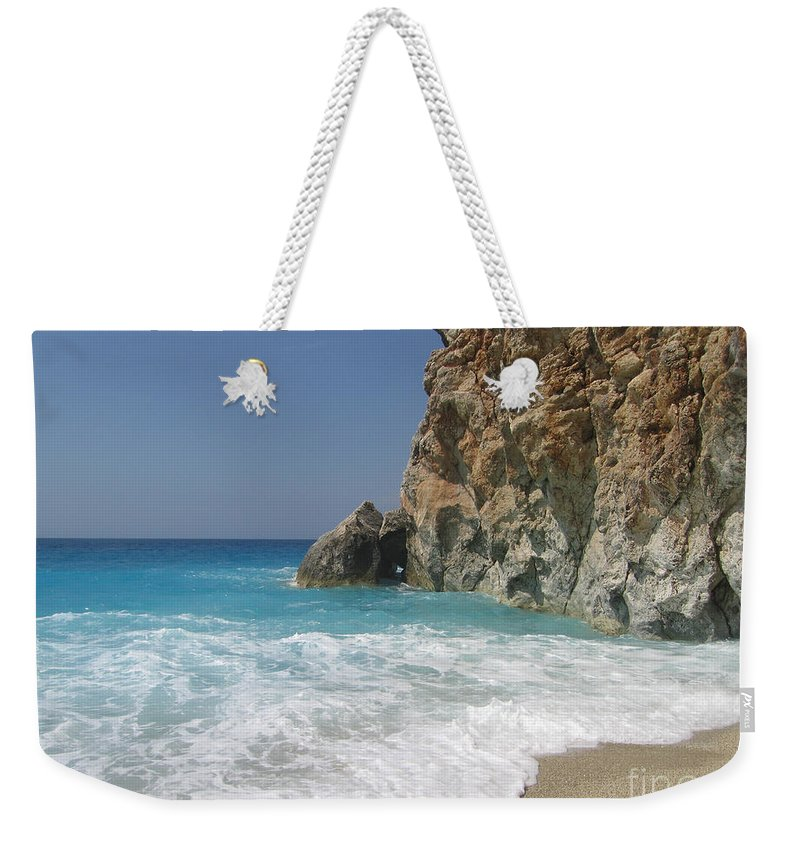 Greece Weekender Tote Bag featuring the photograph Shaped By The Sea by Clay Cofer