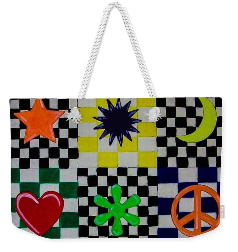 Abstract. Geometric. Rainbow Colors. Shapes. Design. Colorful. Checker Board. Peace Sign. Heart. Star. Moon. Flower Design. Weekender Tote Bag featuring the painting Shapes by Dawn Siegler