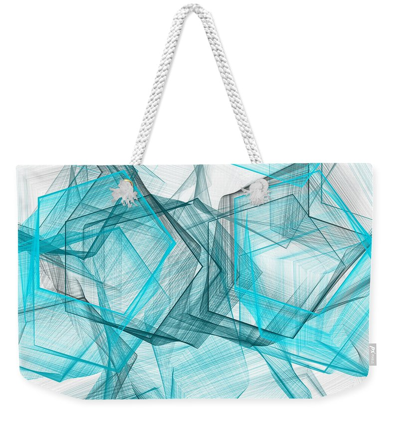 Blue Weekender Tote Bag featuring the painting Shapes Galore by Lourry Legarde