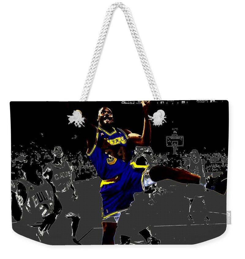 Shaquille Rashaun O'neal Weekender Tote Bag featuring the digital art Shaq by Brian Reaves
