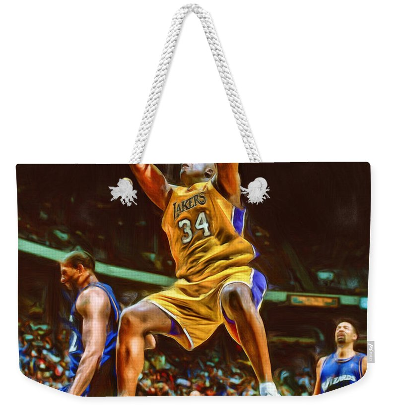 Shaquille O'neal Weekender Tote Bag featuring the mixed media Shaquille O'neal Los Angeles Lakers Oil Art by Joe Hamilton
