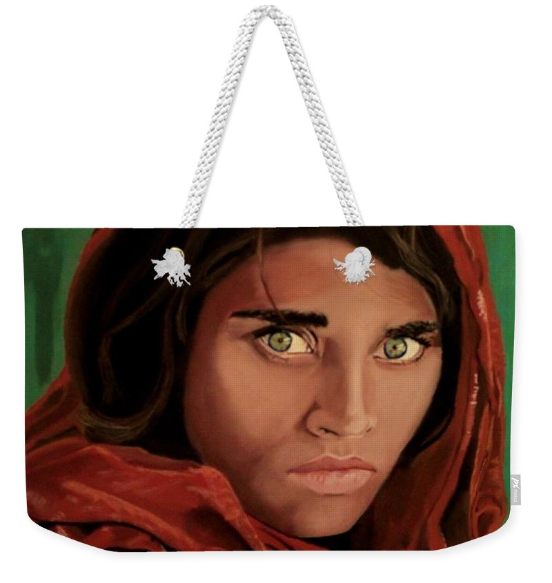 Afghan Girl Weekender Tote Bag featuring the painting Sharbat Gula From Nat Geo Mccurry 1985 by D Turner