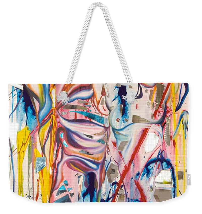 Abstract Weekender Tote Bag featuring the painting Shards by Sheridan Furrer