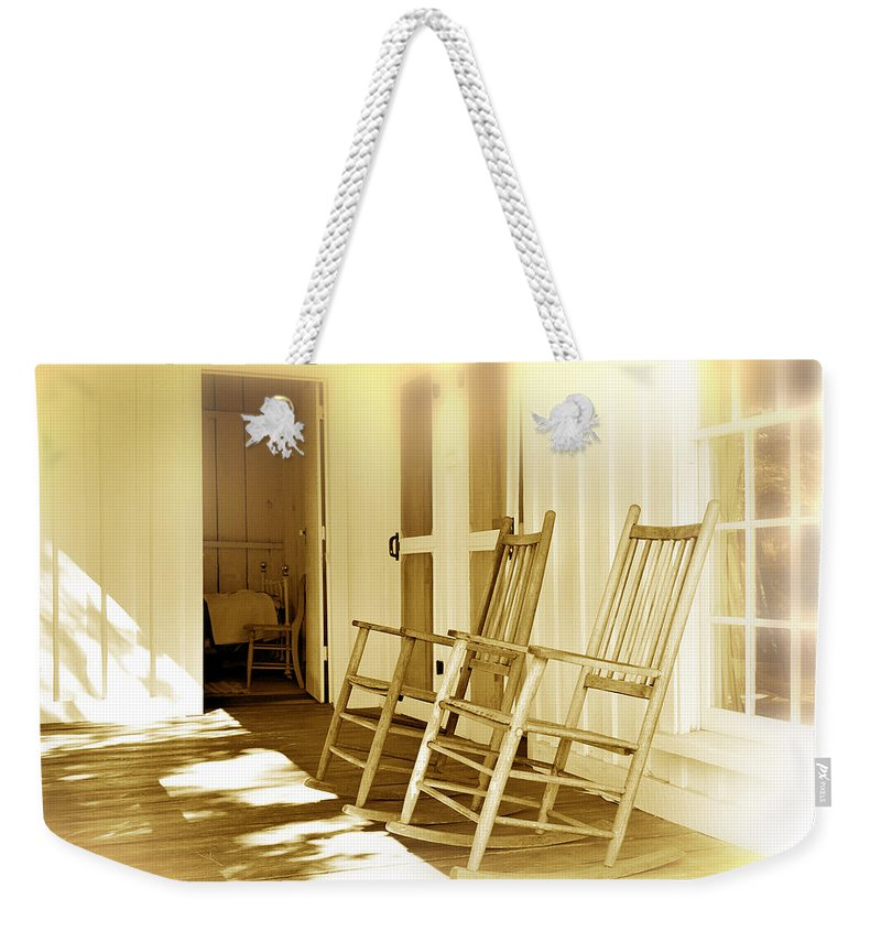 Porch Weekender Tote Bag featuring the photograph Shared Moments by Mal Bray