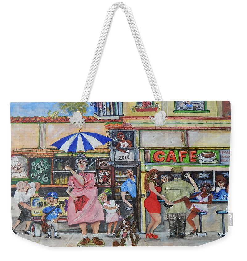 Cafe Weekender Tote Bag featuring the painting Sharing -compartiendo by Jorge Delara