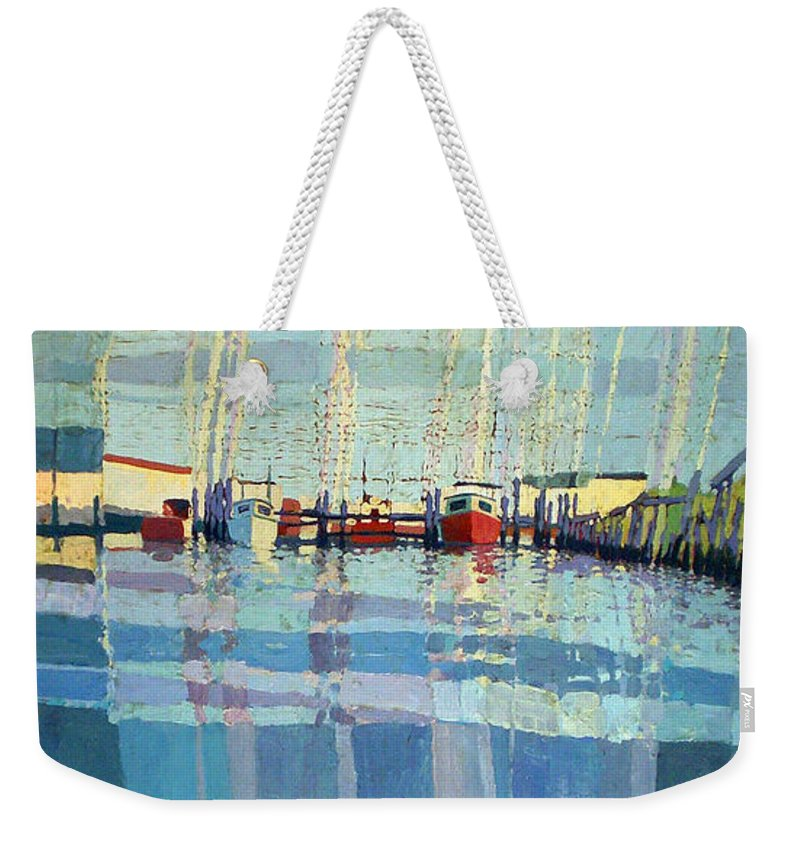 Belmar Inlet Weekender Tote Bag featuring the painting Shark River Inlet by Donald Maier