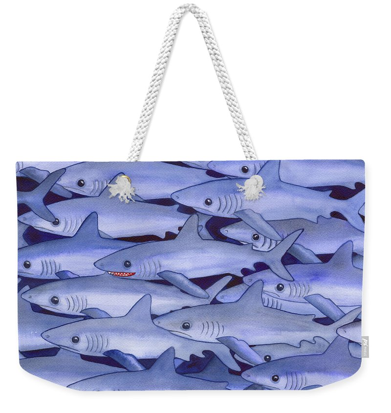 Shark Weekender Tote Bag featuring the painting Sharks by Catherine G McElroy