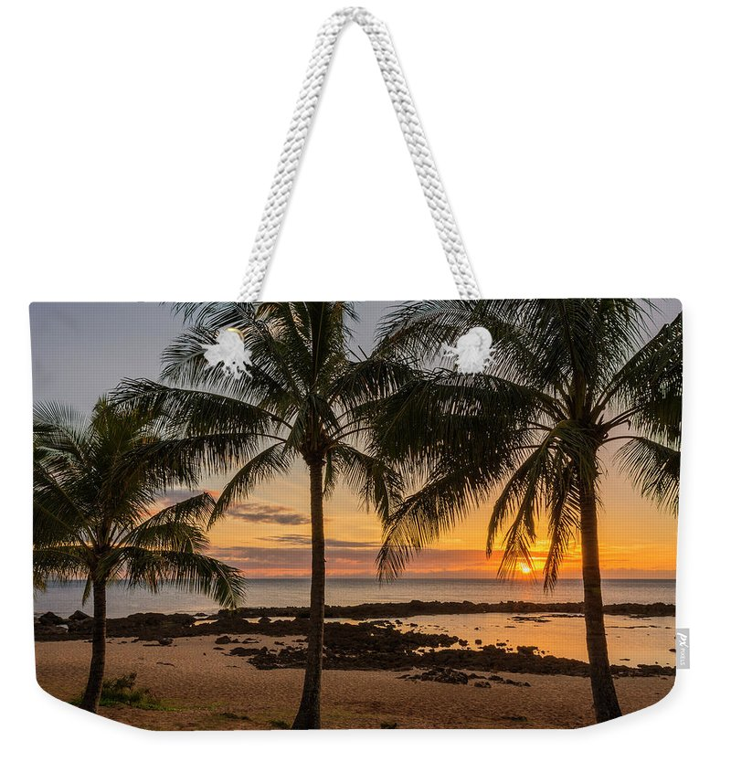 Sharks Cove Palm Tree Sunset Beach North Shore Oahu Hawaii Hi Seascape Weekender Tote Bag featuring the photograph Sharks Cove Sunset 4 - Oahu Hawaii by Brian Harig
