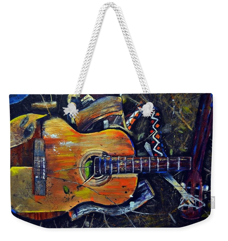 Abstract Impressionistic Smashed Guitar Weekender Tote Bag featuring the painting Shattered Melody by Evan Alderton