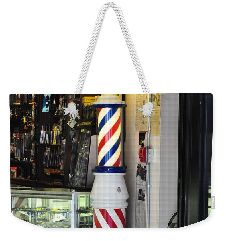 Clay Weekender Tote Bag featuring the photograph Shave And A Haircut by Clayton Bruster