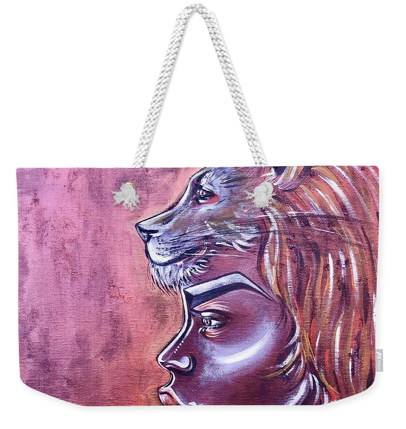 Lion Weekender Tote Bag featuring the painting She Has Goals by Artist RiA