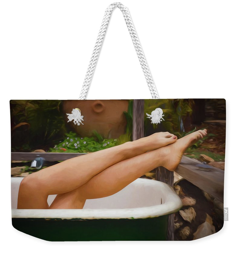 Nude Weekender Tote Bag featuring the photograph She Has Legs by Mike Penney
