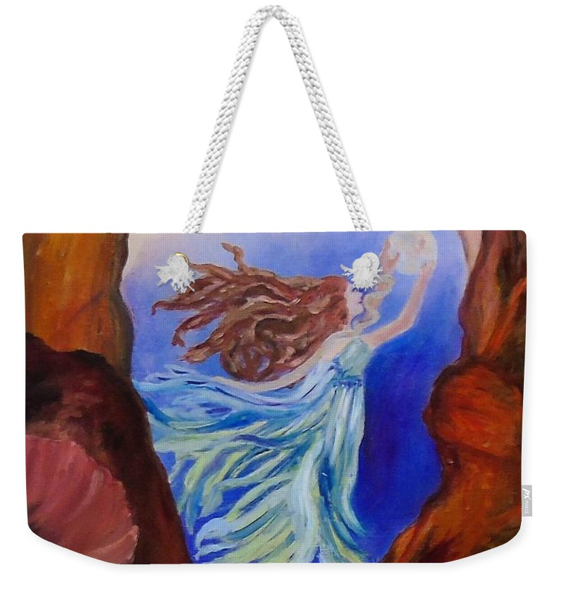 Janistafoya Weekender Tote Bag featuring the painting She Hung The Moon by Janis Tafoya