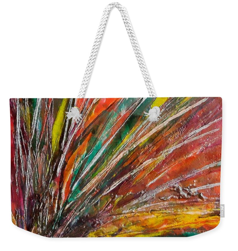 Encaustic Painting Weekender Tote Bag featuring the painting She Is Angry by Dragica Micki Fortuna