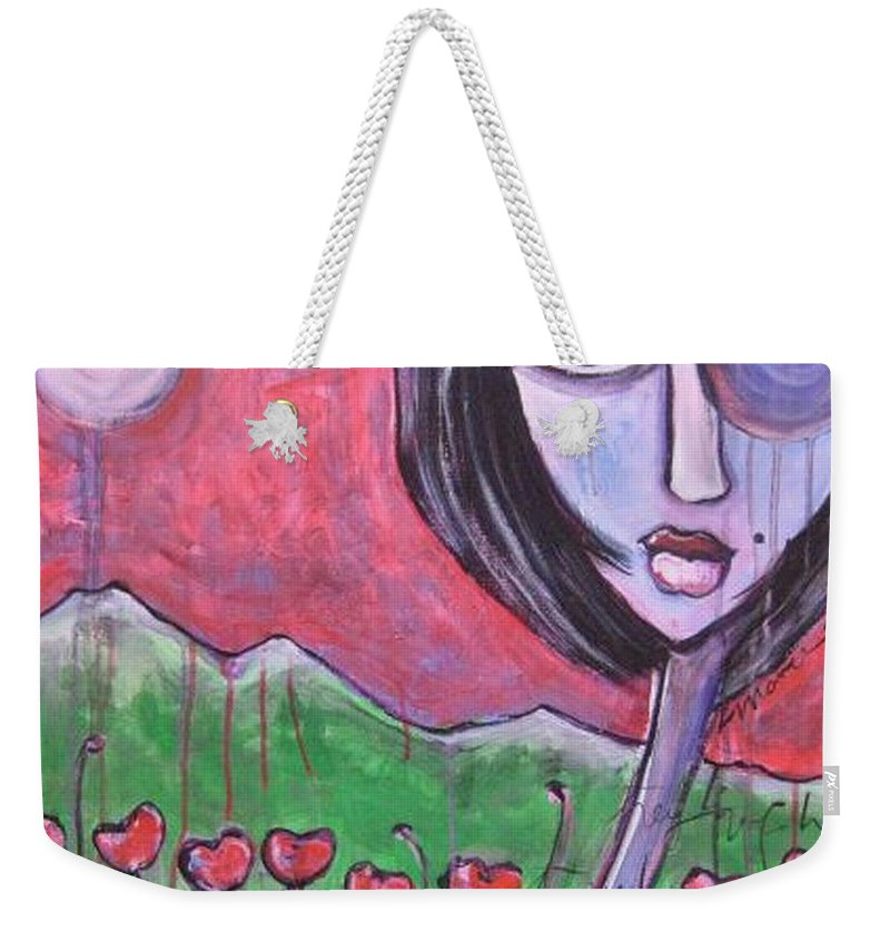 Poppies Weekender Tote Bag featuring the painting She Loved the Poppies by Laurie Maves ART