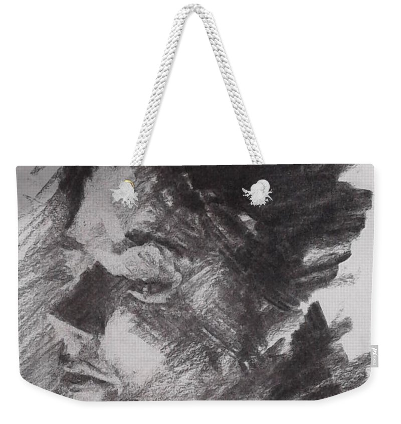 Oil Weekender Tote Bag featuring the drawing She by Patrick Callaway