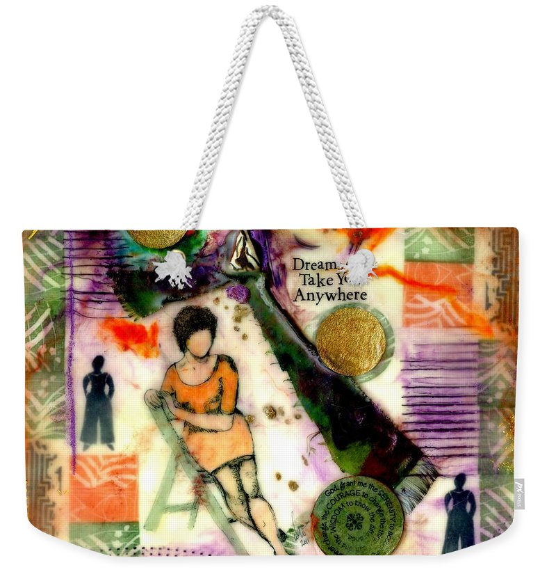 Wood Weekender Tote Bag featuring the mixed media She Remained True by Angela L Walker