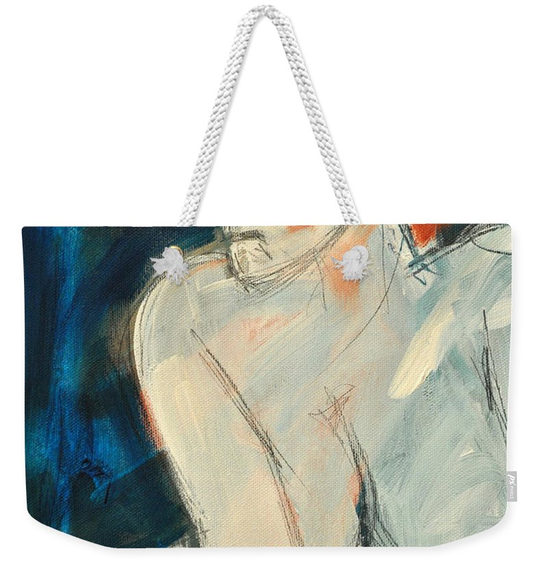 Nude Weekender Tote Bag featuring the painting She Wakes by Tim Nyberg