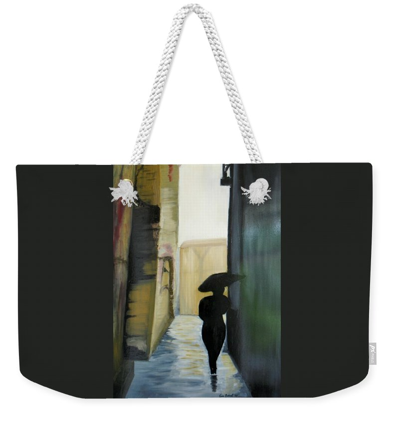 Woman Walking Weekender Tote Bag featuring the painting She Walks by Kim Rahal