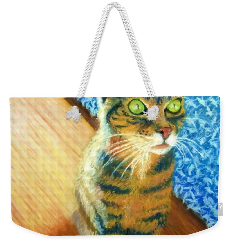 Cat Weekender Tote Bag featuring the painting She Wants To Be Famous by Minaz Jantz