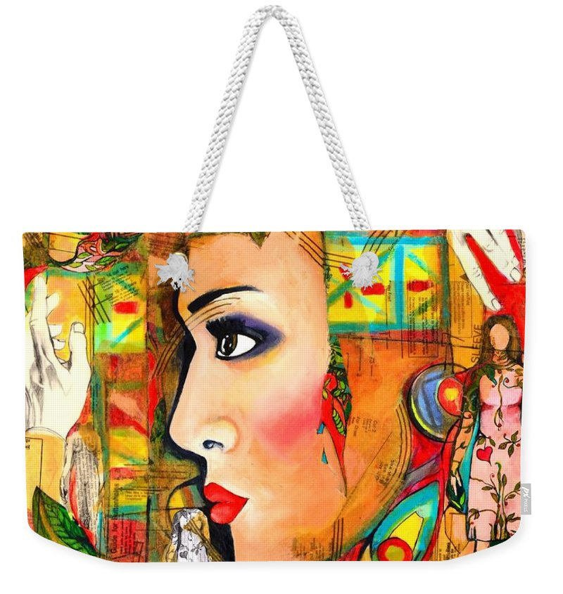 Woman's Face Weekender Tote Bag featuring the painting She Won't Let Her Past Haunt Her by Jacqueline Kern