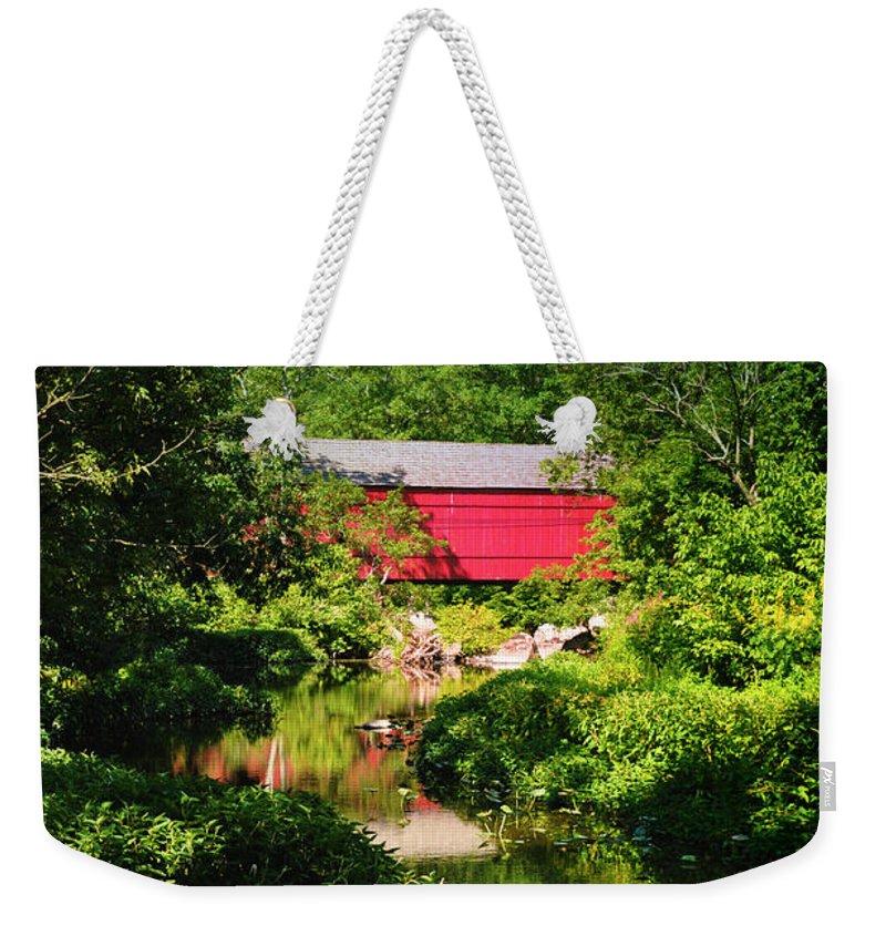 Sheards Mill Bridge Weekender Tote Bag featuring the photograph Sheards Mill Bridge - Nockamixon Pa by Bill Cannon