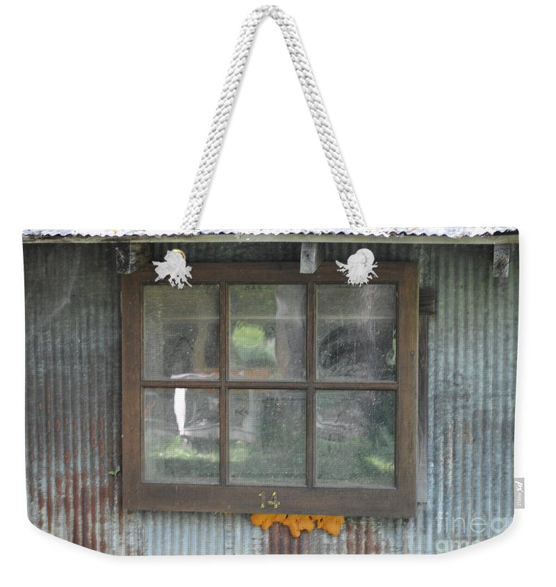 Country Weekender Tote Bag featuring the photograph Shed Window by Jost Houk