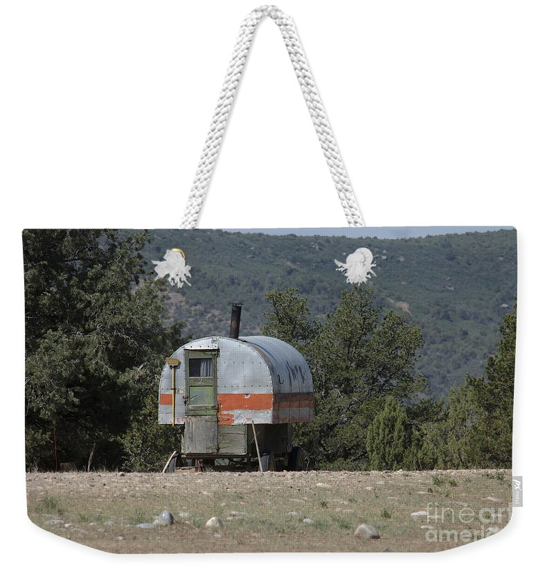 Sheep Weekender Tote Bag featuring the photograph Sheep Herder's Wagon by Jerry McElroy