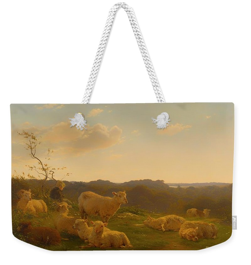 Painting Weekender Tote Bag featuring the painting Sheep On A Hill Near Skarridso by Mountain Dreams