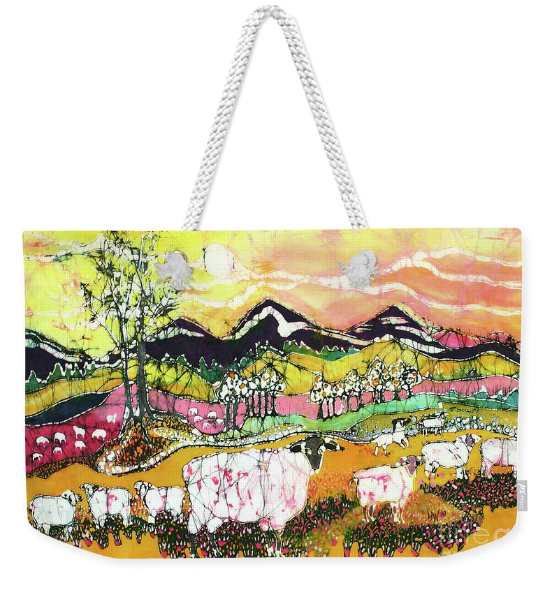 Sheep Weekender Tote Bag featuring the tapestry - textile Sheep On Sunny Summer Day by Carol Law Conklin