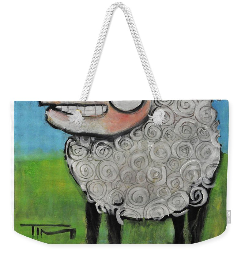 Sheep Weekender Tote Bag featuring the painting Sheep Poster by Tim Nyberg