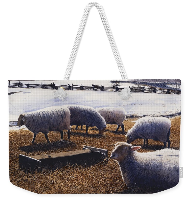 Sheep Weekender Tote Bag featuring the painting Sheepish by Denny Bond