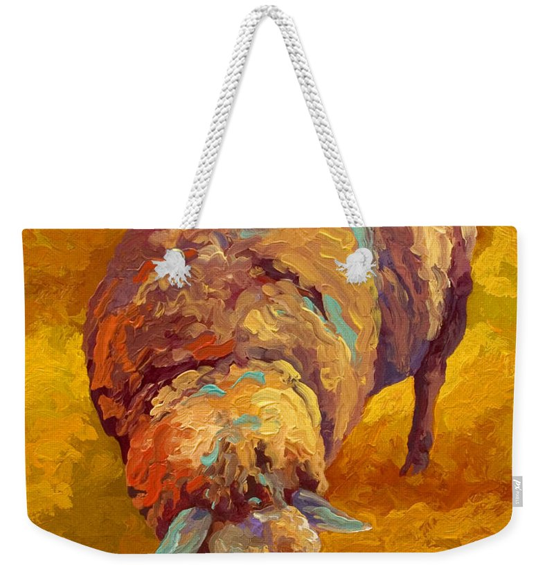 Llama Weekender Tote Bag featuring the painting Sheepish by Marion Rose